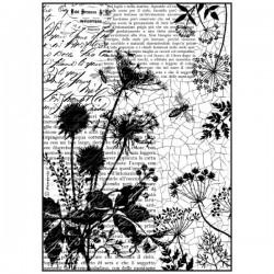 Papier de riz motif écritures et abeilles