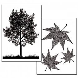 Papier transfert arbre et feuilles