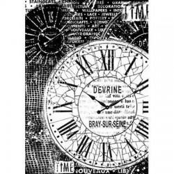 Papier de riz grande horloge vintage