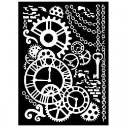 Pochoir mécanisme horloge