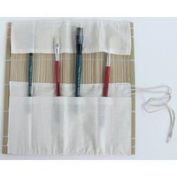 Housse pour pinceaux en bambou